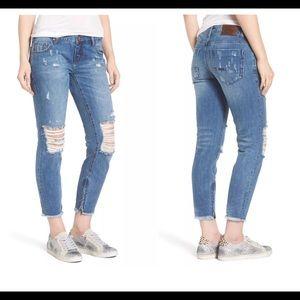 One Teaspoon Freebirds Ripped Crop Skinny Jeans